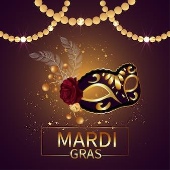 Fundo de celebração de carnaval com máscara dourada Vetor Premium