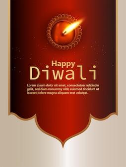 Fundo de celebração de diwali feliz com diwali diya