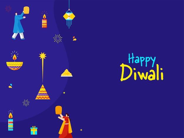Fundo de celebração de diwali feliz com povos indianos, lâmpadas de óleo acesas, velas, foguete (anar) e doce (laddu).