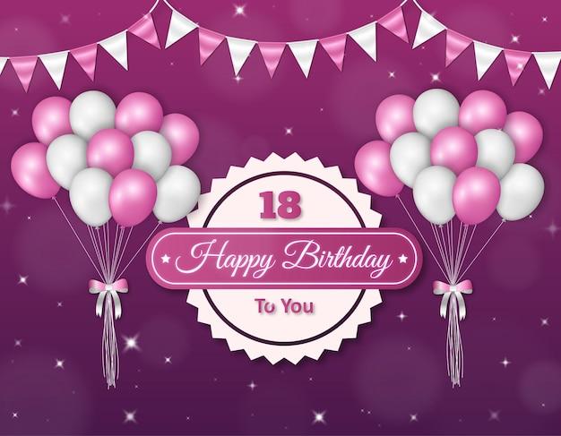 Fundo de celebração de feliz aniversário com balões e bandeiras realistas