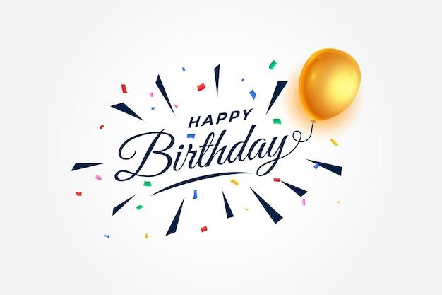 Fundo de celebração de feliz aniversário com balões e confetes