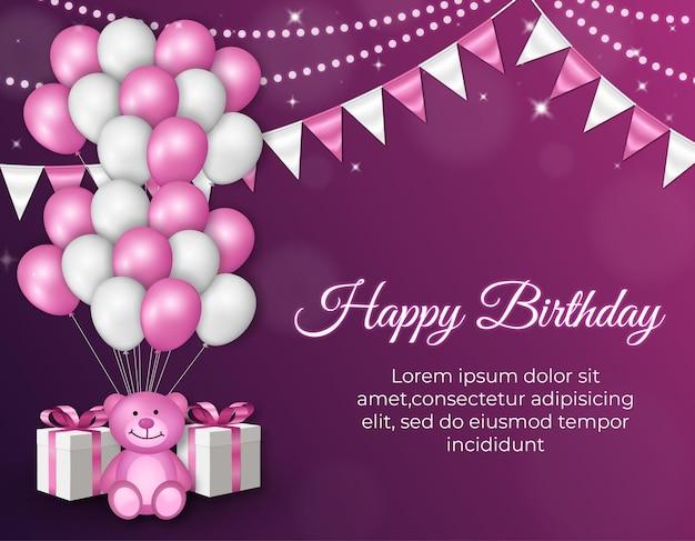 Fundo de celebração de feliz aniversário com balões e urso fofo