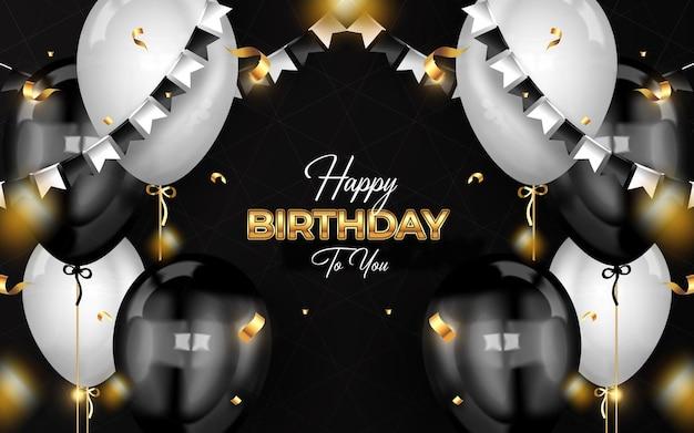 Fundo de celebração de feliz aniversário com balões realistas