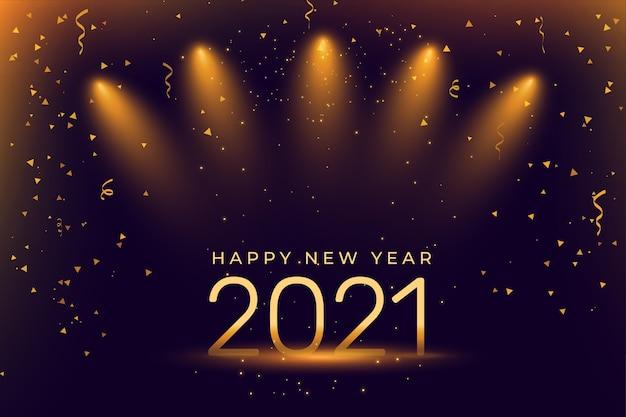 Fundo de celebração de feliz ano novo com holofotes