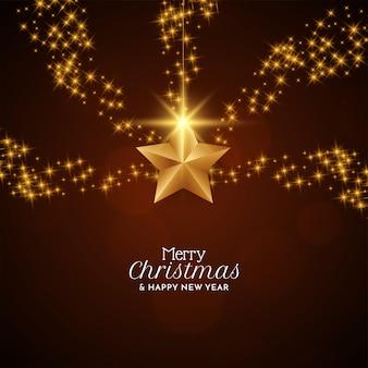 Fundo de celebração de feliz natal com estrelas brilhantes