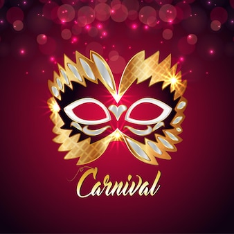 Fundo de celebração de festa de carnaval com máscara dourada