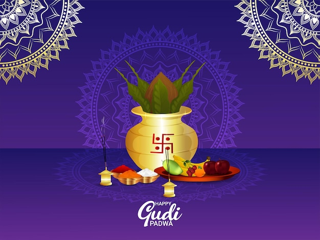 Fundo de celebração de gudi padwa realista