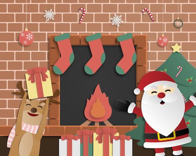 Fundo de celebração de natal em papel cortado estilo. papai noel e renas felizes em uma festa na casa deles em frente à lareira.