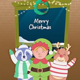 Fundo de celebração de natal feliz com personagem de desenho animado de duende, guaxinim e rena.