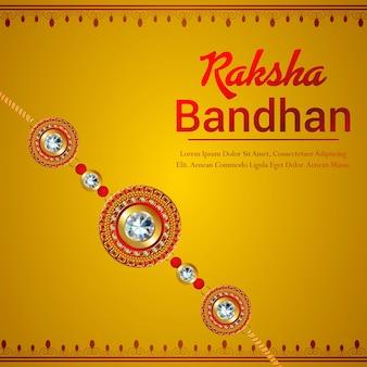 Fundo de celebração de rakhi feliz com rakhi de cristal e presentes