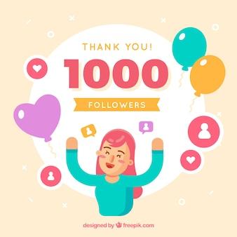 Fundo de celebração de seguidores de 1k em design plano