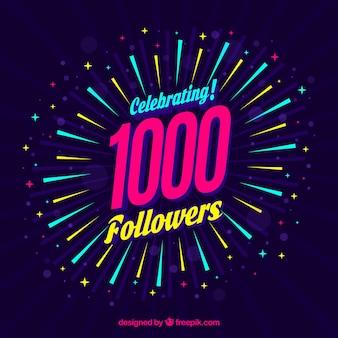 Fundo de celebração de um seguidor de 1k