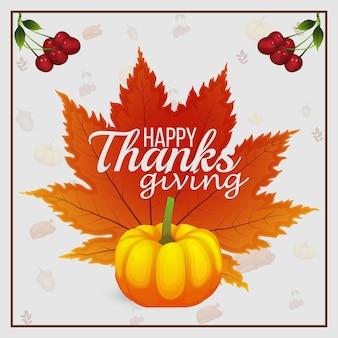 Fundo de celebração do dia de ação de graças feliz com folhas de outono e abóbora