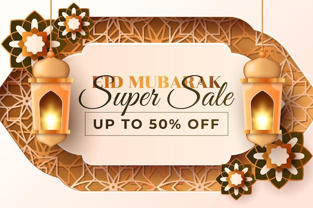 Fundo de celebração do eid mubarak com estilo de papel