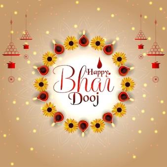 Fundo de celebração do feliz bhai dooj do festival indiano