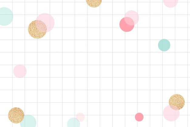 Fundo de celebração fofo, padrão de grade fofo com vetor de bokeh colorido