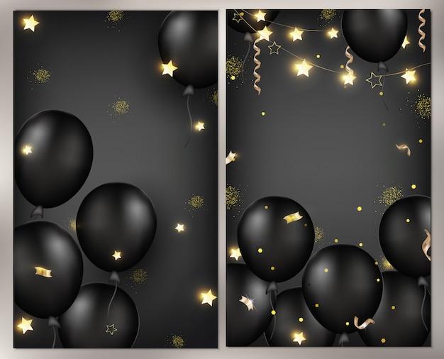 Fundo de celebrações com balões pretos, guirlandas, serpentina de ouro, confetes, brilhos. modelo para banner, cartão de felicitações ou vendas. ilustrações.