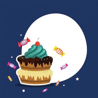 Fundo de celebrações com bolo e espaço para o seu texto.