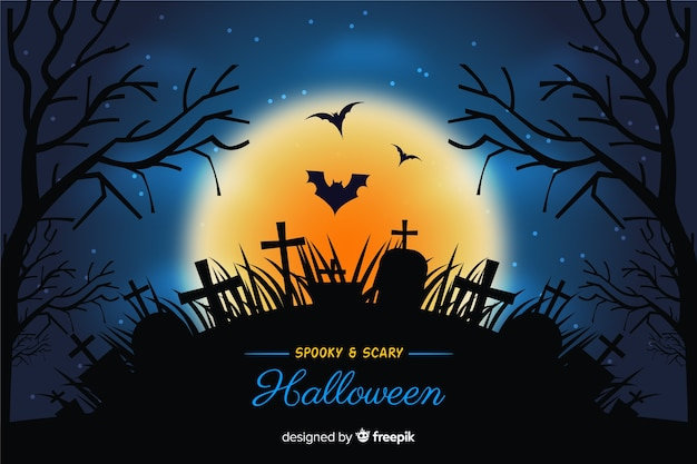 Fundo de cemitério de halloween realista Vetor grátis
