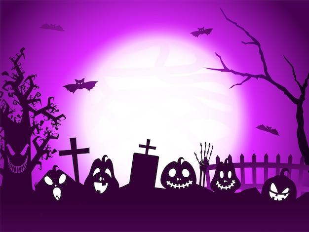 Fundo de cemitério roxo de lua cheia com jack-o-lanterns, morcegos voadores, mão de esqueleto e árvore assustadora.