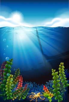 Fundo de cena com mar azul e debaixo d'água