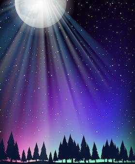 Fundo de cena de natureza com lua e estrelas