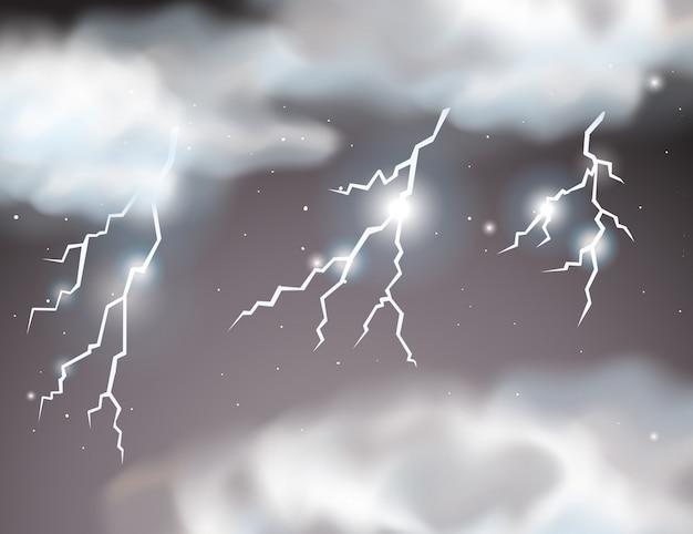 Fundo de cena de tempestade de relâmpagos