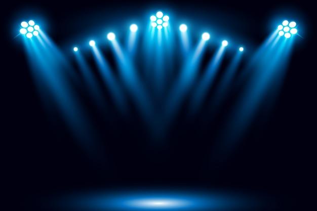 Fundo de cena iluminado holofote azul