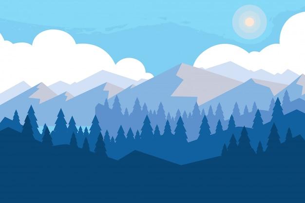 Fundo de cena montanhosa de paisagem