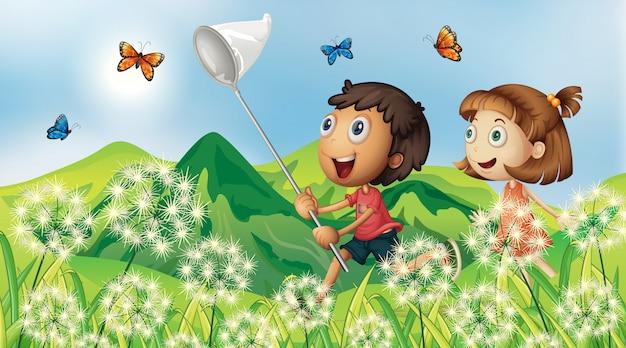 Fundo de cena natureza com crianças pegando borboleta no jardim