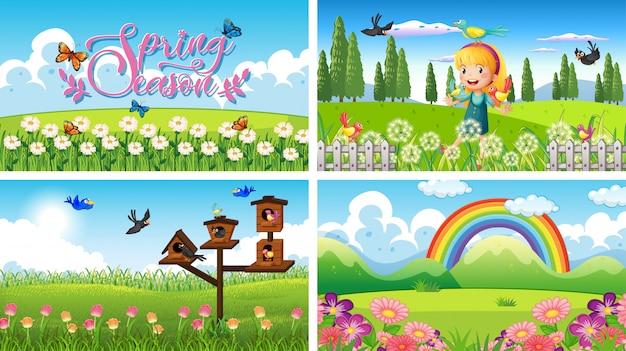 Fundo de cena natureza com menina e pássaros no jardim