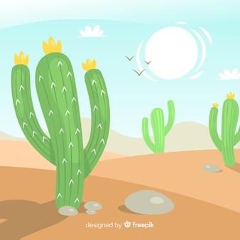 Fundo de cena no deserto de mão desenhada