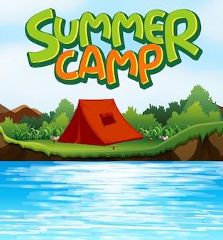 Fundo de cena para o acampamento de verão da palavra com a barraca pelo rio
