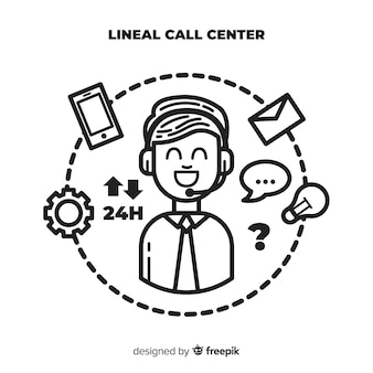 Fundo de centro de chamada lineal moderna