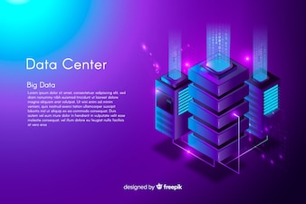 Fundo de centro de dados isométrico