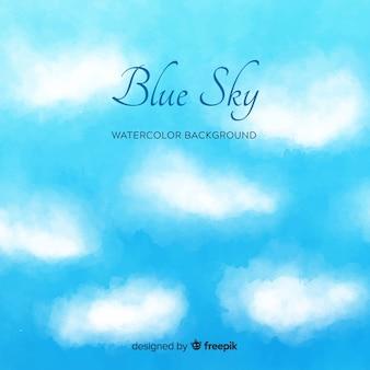 Fundo de céu azul em aquarela