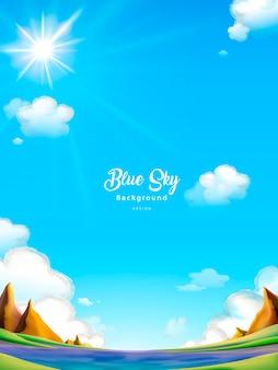 Fundo de céu azul, paisagem ao ar livre clara e atraente
