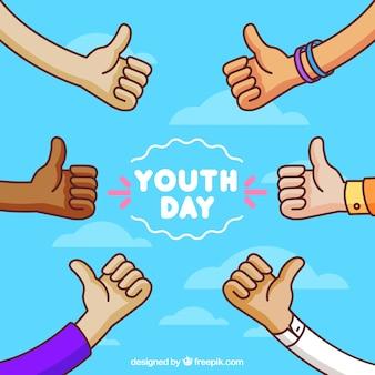 Fundo de céu com as mãos comemorando o dia da juventude