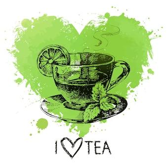 Fundo de chá com respingo de coração em aquarela e esboço. ilustração de mão desenhada. design do menu