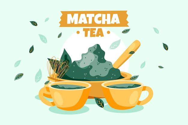 Fundo de chá matcha mão desenhada
