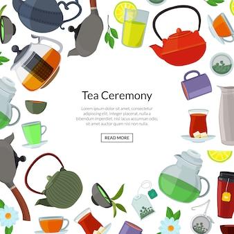 Fundo de chaleiras e copos de chá dos desenhos animados com lugar para texto