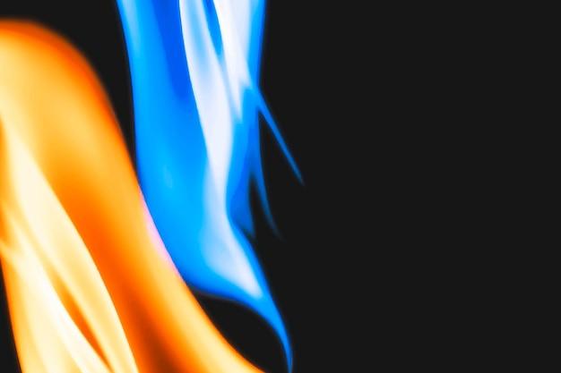 Fundo de chama ardente, imagem em preto realista de borda de fogo