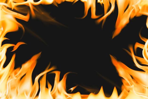 Fundo de chama ardente, vetor de imagem realista de fogo com moldura laranja