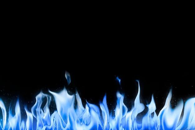 Fundo de chama negra, vetor de imagem realista de fogo de borda azul
