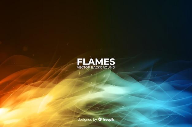 Fundo de chamas coloridas realistas