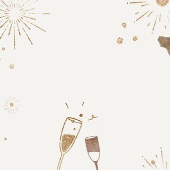 Fundo de champanhe espumante vetor celebração de ano novo