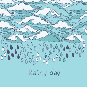 Fundo de chuva doodle. papel de parede de desenho animado