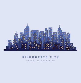 Fundo de cidade de noite de silhueta