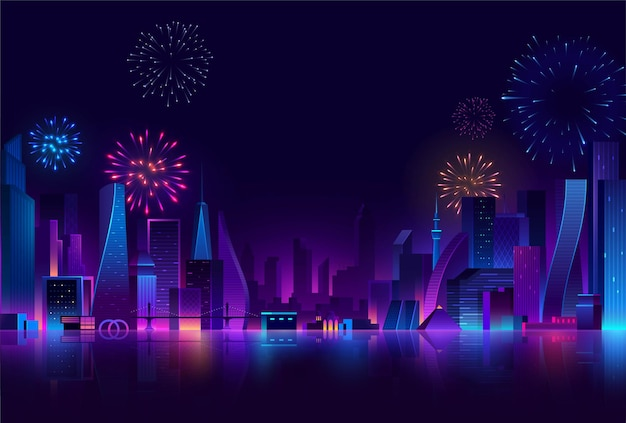 Fundo de cidade futurista à noite com edifícios e fogos de artifício