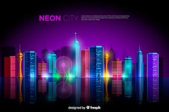 Fundo de cidade plana de néon